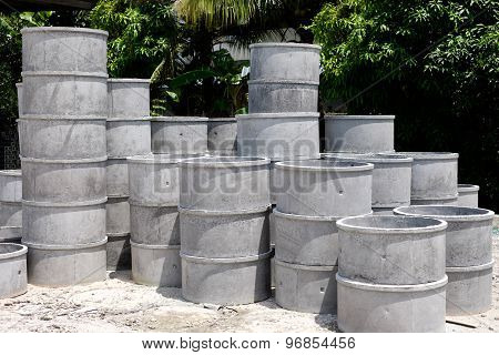 Stock Of Cement Pipe