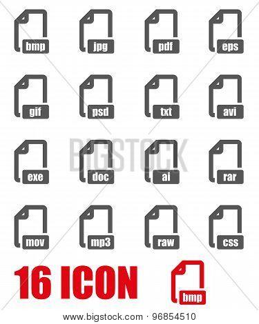 Vector Grey File Format Icon Set