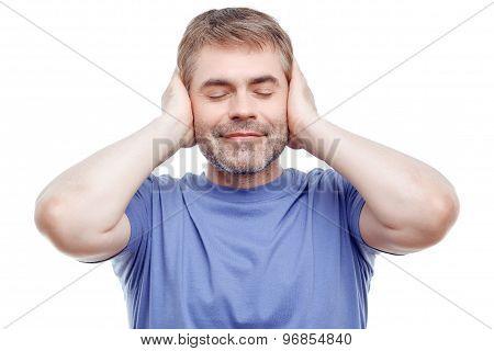 Nice man keeping eyes closed.