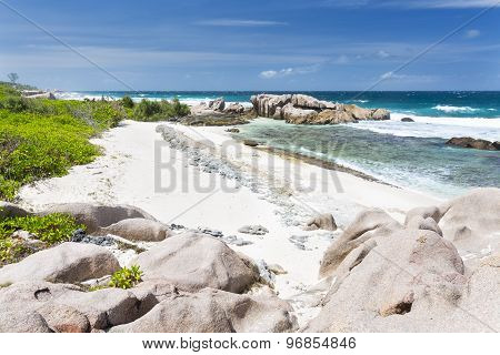 Granite Rocks And Coral, La Digue, Seychelles