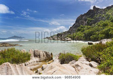 Granite Hills And Coral, La Digue, Seychelles
