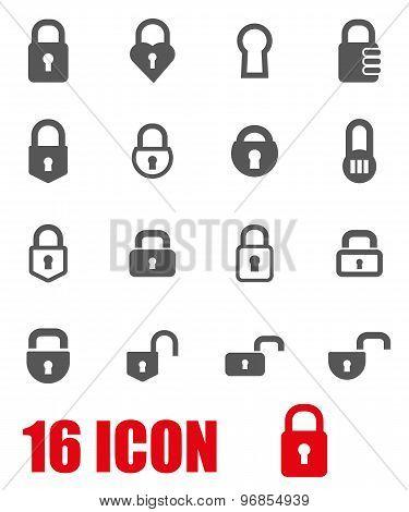 Vector Grey Locks Icon Set