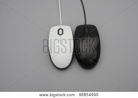 White And Black Mouses With Cables On Grey Background