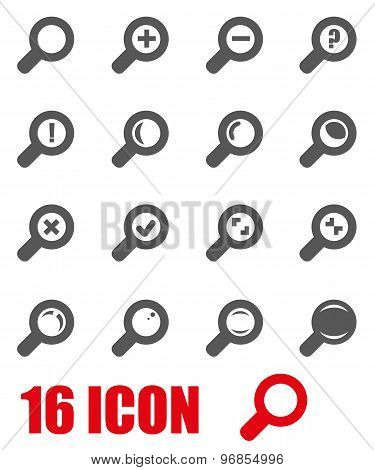 Vector Grey Magnifying Glass Icon Set