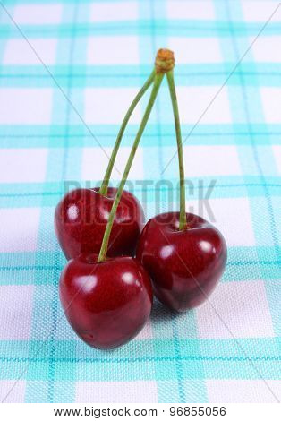 Fresh Cherries On Checkered Tablecloth, Healthy Food