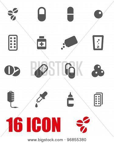 Vector Grey Pills Icon Set