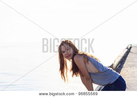 Beautiful Girl With Close-up of a asia woman smiling