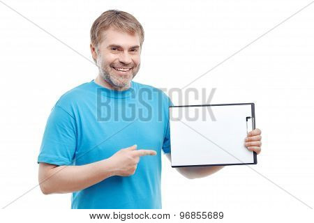 Upbeat man holding folder