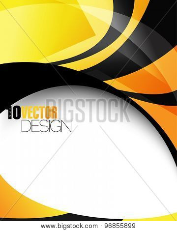 hi-tech yellow and blank colored abstract waves thick lines advertisement background eps10 vector