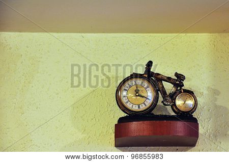 bicycle clock hanging on the wall in the restaurant
