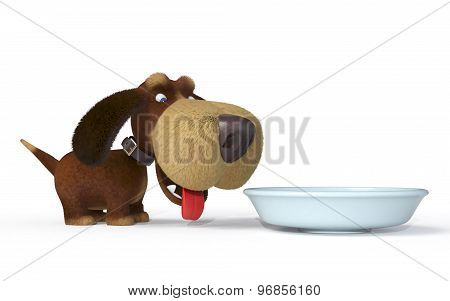 3D Dog With A Bowl