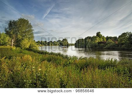 River Thames From Richmond Hill In London On Summer Day