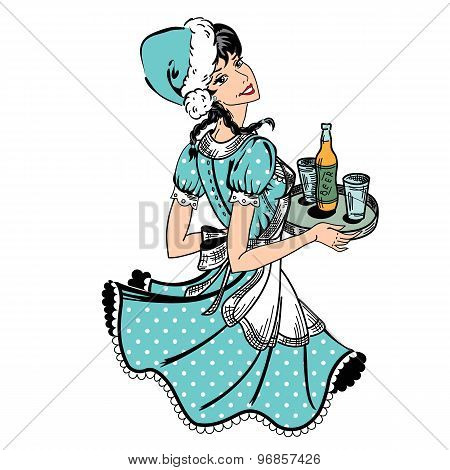 Waitress in Xmas Hat