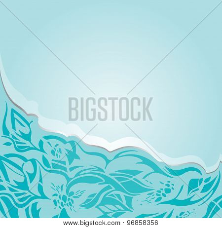Floral invitation green-blue turquoise background