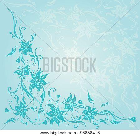 Turquoise vintage floral invitation wedding background design