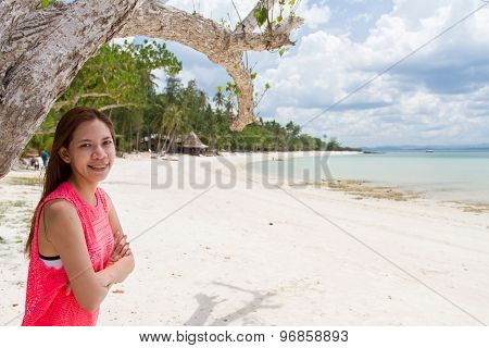 Beautiful Girl With Sunlight Fair Travel And Vacation On The Beach Enjoying