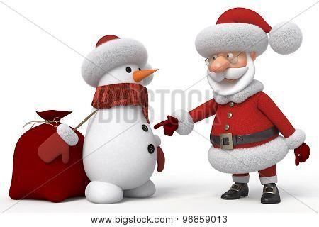 3D Santa Claus With A Snowman