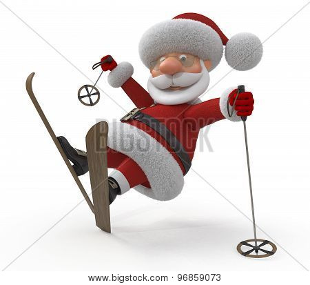 3D Santa Claus On Skis