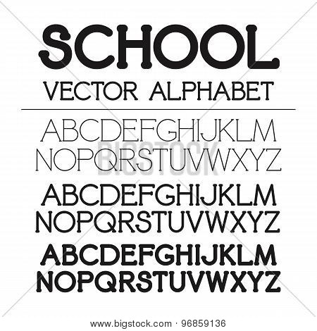 School Vector Alphabet Set