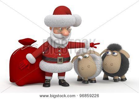 Santa Claus With Lambs