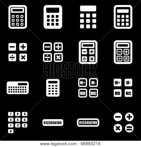 Vector White Calculator Icon Set
