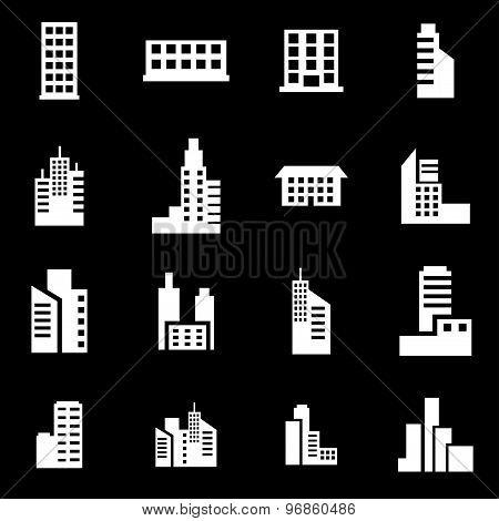 Vector White Building Icon Set