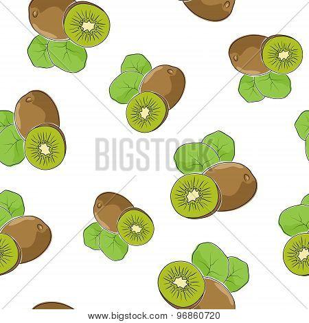 Seamless Pattern Of  Kiwifruit