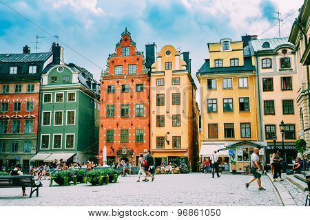 Colorful houses in old square Stortorget place in Gamla stan, St