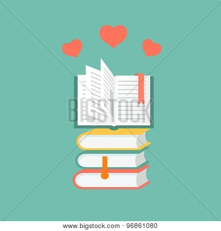 books in flat design. Literature and library, education and science, knowledge and study, vector ill