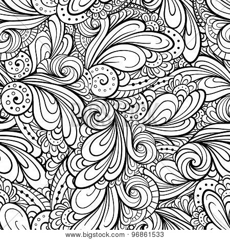 Abstract floral shapes seamless pattern