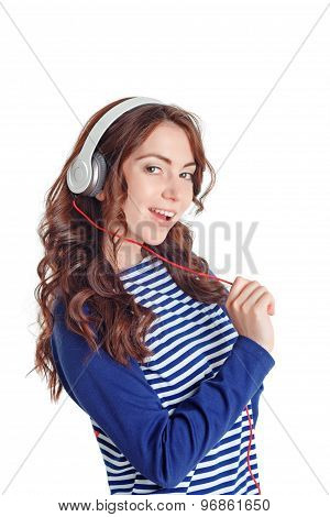 Nice girl listening to music
