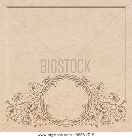 Vintage Old Paper Texture With Vector Traditional Oriental Vignette