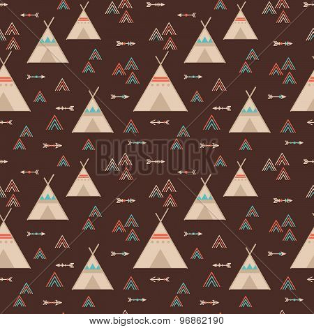 Cute Trible Geometric Seamless Pattern In Cartoon Style