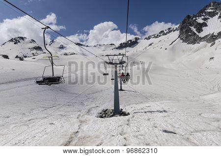 Ski chairlift lift glacier in the Italian Alps