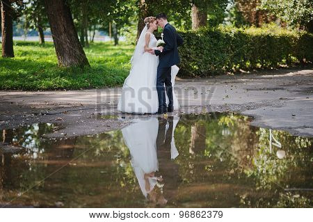 Exciting Elegant Wedding Couple Walking At Park In Love, Siluet On Water