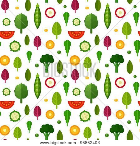Flat Vegetables Seamless Pattern For Textile