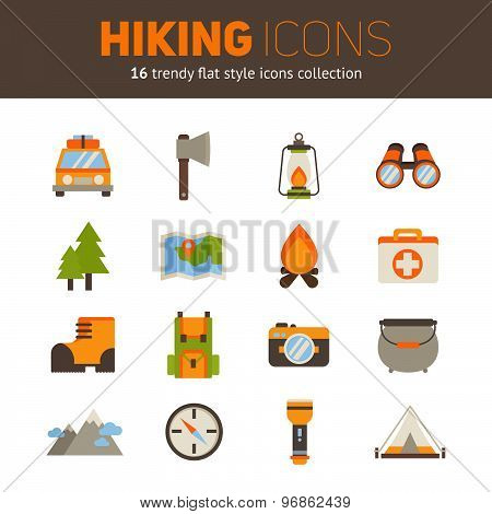 A Set Of Hiking Flat Icons In Modern Style