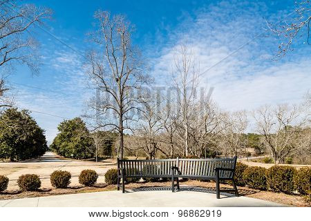 Winter Park With Empty Black Bench