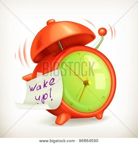 Wake up, alarm clock vector icon