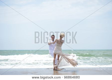 Pretty Wedding Couple On Beach