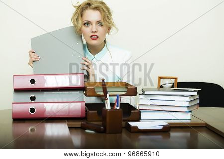 Blond Woman At Office Table