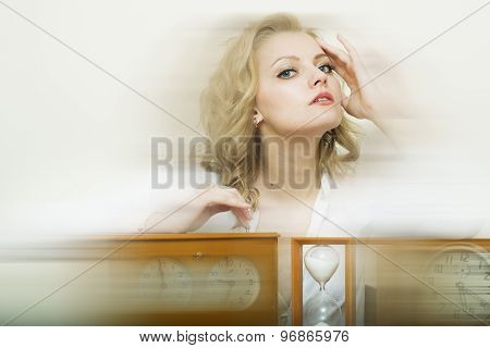Tired Woman With Sand Glass