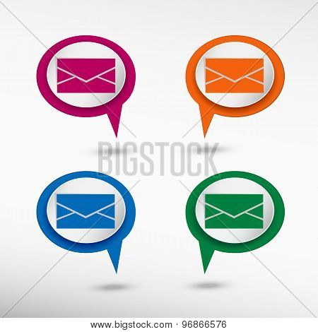 Vector message Icon on colorful chat speech bubbles