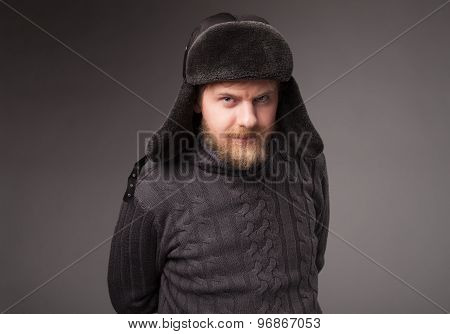 lumberjack in Russian hat