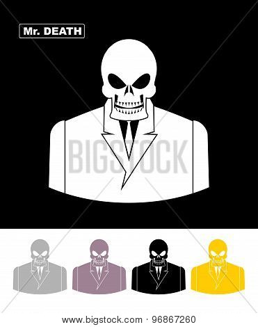 Mr Death. Skull Wearing Businessman. Skeleton In An Office Suit. Web Icon. Vector Illustration.
