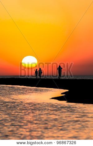 Walk To The Sea At Sunset