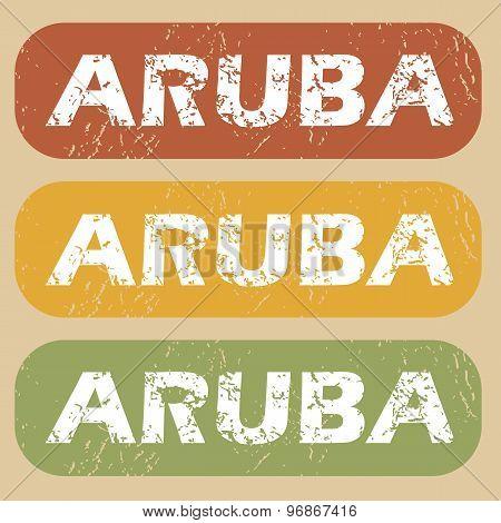 Vintage Aruba stamp set