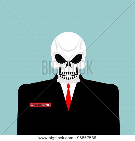Mr Deadline. Death Of A Businessman In A Suit. Skeleton In An Office Suit. Vector Illustration.