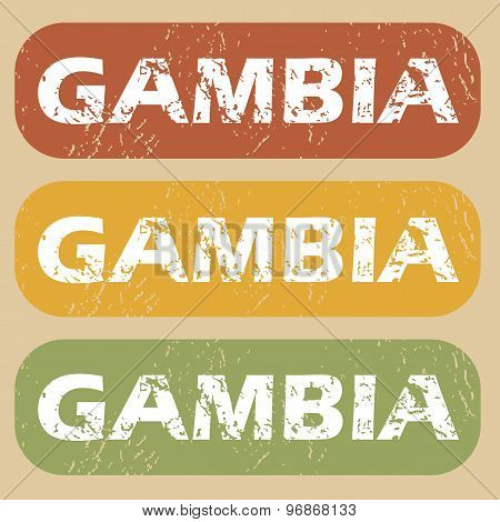 Vintage Gambia stamp set