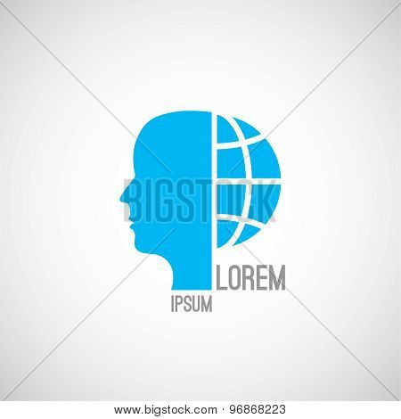 Silhouette Of A Human Face And A Half The Globe
